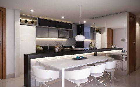 Perspectiva da cozinha americana - Edifício Jade