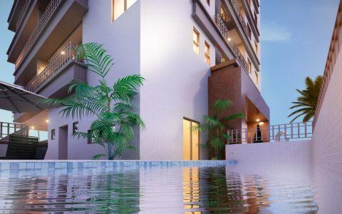 Perspectiva piscina e área de lazer
