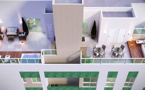 Perspectiva área de lazer e cobertura edifício Jade