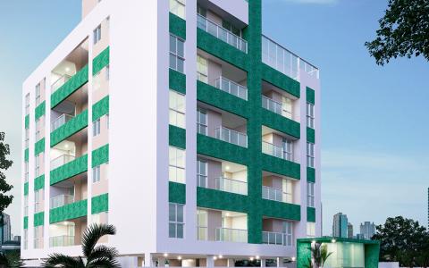 Perspectiva da fachada lateral edifício Jade